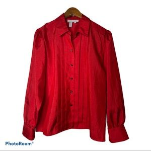 🌱 Laura & Jayne Red Button Down Blouse Size 8